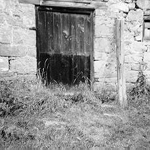 Detail of door and foundation, Dakota Mill, Cedar Springs Road, 1974