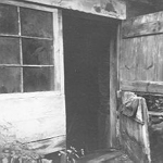 Door of farm building, Cedar Springs Road, 1974