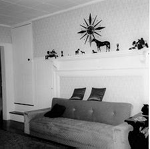 """Fireplace in  4134 Dundas Street, built in 1816 for Colonel William """"White Oaks"""" Chisholm, 1974"""