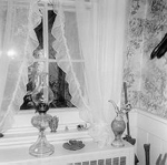 Thomas and Charlotte Alton Homestead interior with oil lamp, 4083 (formerly 4059) Dundas Street (Con 1 NDS Pt Lt 10), now 3215 Settlement Court, 1974