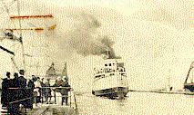 "Hamilton Harbour -- The ""Macassa"" going through the canal of Hamilton Harbour"