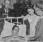Bullock Family -- T.A. Bullock wounded in France in World War II; T.A. Bullock, Mr.Mrs. E.E. Bullock (parents) and Miss Marie Vickers