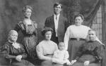 Emery Family -- L-R: Edith Bell, Elizabeth Emery, Pansy (nee Filman) Emery with baby Jean, Russel Emery, Mrs. John Filman, Mrs. Annie Smale