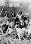 Girl Guides -- Mary Burton-Nicholson and Georgean Zimmerman with their Girl Guide troupe, view 1
