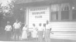 Aldershot Bowling Clubhouse -- (L-R): J. Walmsley, W.A. Fellowes, M. Stevenson, Pearl Leggat, H. Stevenson, A.K. Ramsay, 1961