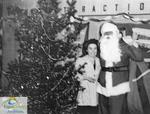 Nan Robinson and Santa Claus at the Roxy Theatre, Port Stanley