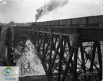 First train crossing Niagara Gorge bridge, 1925