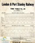 London&Port; Stanley Railway Time Table No. 26