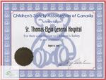 Certificate of Appreciation from the Children's Safety Association of Canada