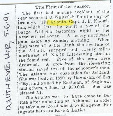 ATLANTA (1890, Schooner-barge)