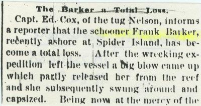 BARKER, FRANK D. (1867, Schooner)