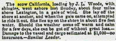 CALIFORNIA (1849, Scow Schooner)