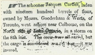 CARTIER,  JACQUES (pre1853, Schooner)
