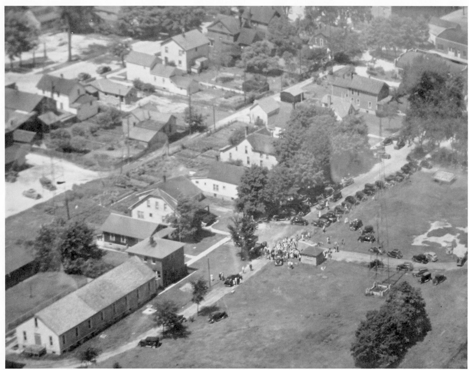 Aerial view of Alpena's Fish Hatchery and land behind City Hall.