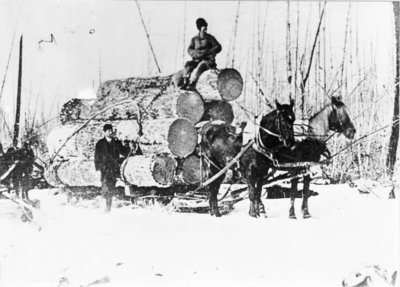 Log Sled On Ice Road