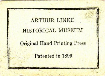 Arthur Linke Historical Museum Business Card