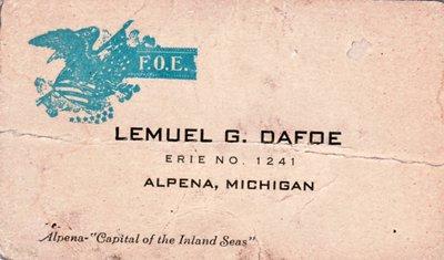 Lemuel G. Dafoe Business Card
