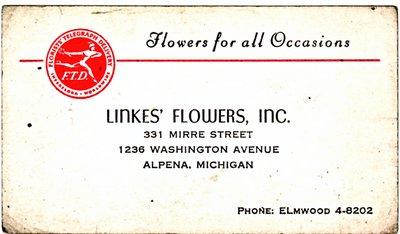 Linkes' Flowers, Inc. Business Card