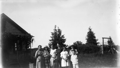 Middle Island:  Esther Hartlep (front center) with unidentified others.