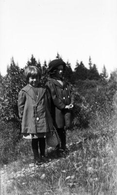 Middle Island:  Esther Hartlep (right) with unidentified girl.