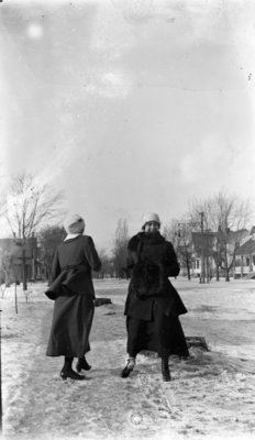 Two Young Woman Outside in Winter