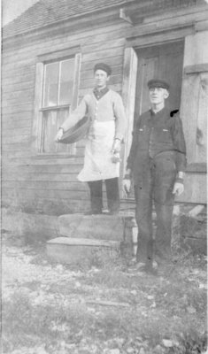 "Middle Island: Oscar Olson (left) and ""Ferguson"" on cooking duty"