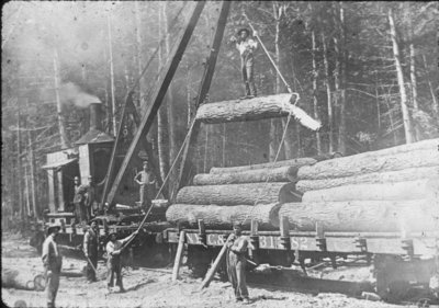 Loading Logs on Railway Flatcar
