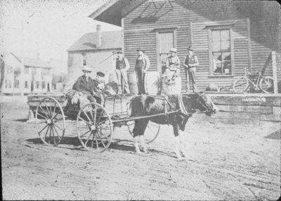 Men, Boys, and Carriage in Front of Store