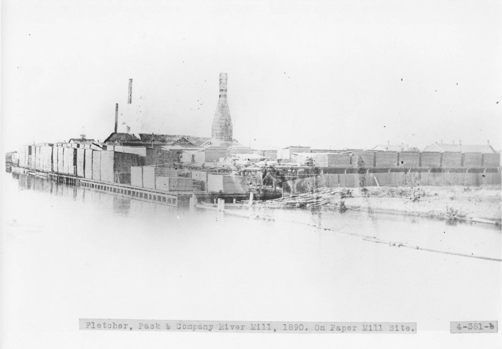Fletcher, Pack & Company River Mill along the Thunder Bay River