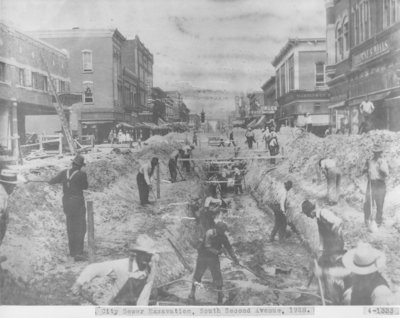 City Sewer Excavation in Downtown Alpena
