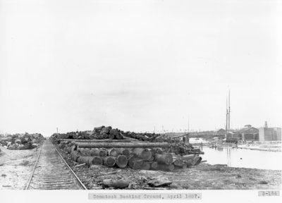 Comstock Lumber Mill Log Bank on Thunder Bay River