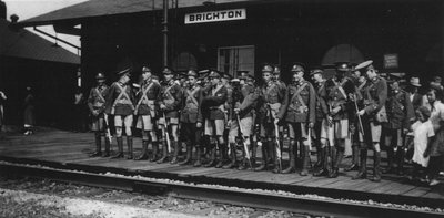 Signal Corps Awaiting Train at GTR Brighton 1939