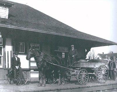 Horse and wagon at Train Station