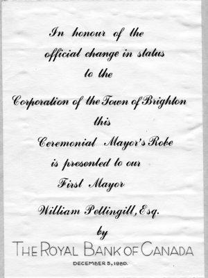 Pettingill First Brighton Mayor