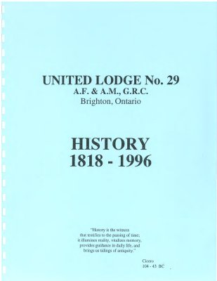 United Lodge No. 29 History 1818 - 1996