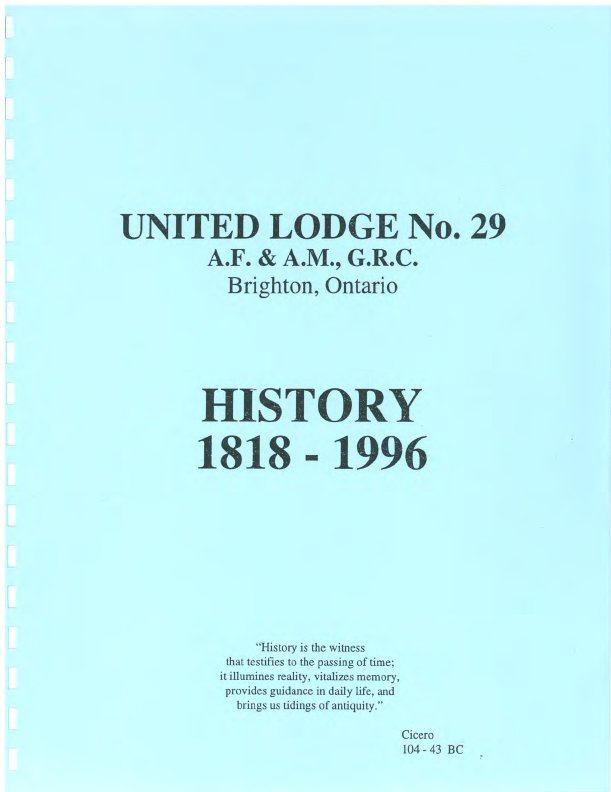 United Lodge No. 29 History 1818 - 1996