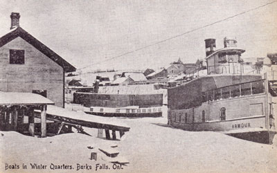 Boats in Winter Quarters, Burk's Falls, Ontario, circa 1917.