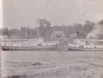 The Wenonah with Wanita at the Burk's Falls Warf, circa 1899