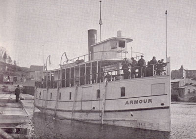 The Amour Leaving the Wharf in Burk's Falls, circa 1915.