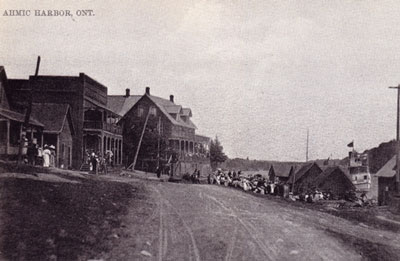 Main Street of Ahmic Harbour, Ontario, circa 1906.