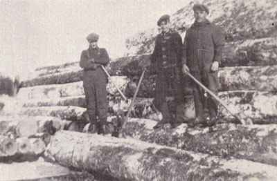 Three Loggers holding Cant Hooks, circa 1930