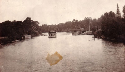 Boat and River Seen from Swing Bridge, circa 1923