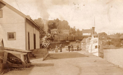 The Wanita at Dock and Train Coming to Town, Burk's Falls, circa 1907
