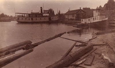 The Armour and the Tugboat Theresa in Magnetawan Wharf, circa 1907