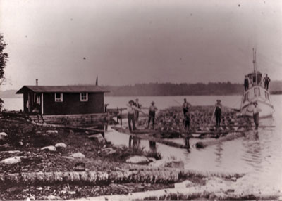 Logs being put in the River, circa 1930