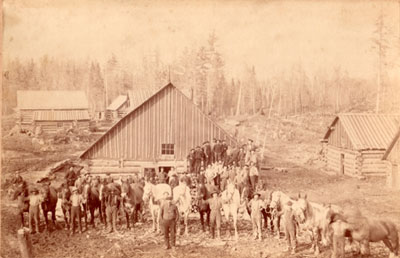 Group Picture at the Logging Village, Burk's Falls area, circa 1930
