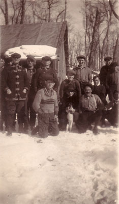 Group of Loggers with a Dog, circa 1930