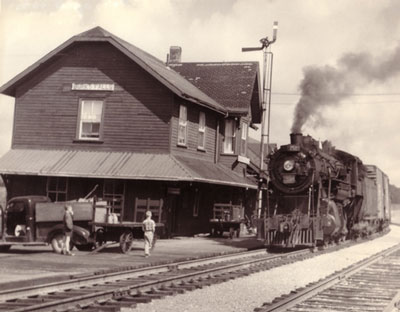 Train Leaving Train Station, Burk's Falls, circa 1935