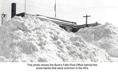 Towering Snow Drift in front of Post Office, Burk's Falls, circa 1920