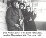 Ernie, Margaret, and Vera Warner, circa 1945